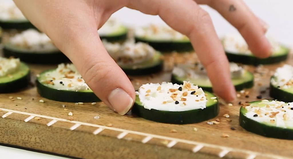 Cucumber Bagel Bites - Del Negro Integrative Health